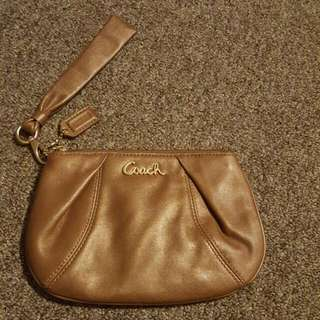 Gold Colored Coach Wristlet (Med Size)
