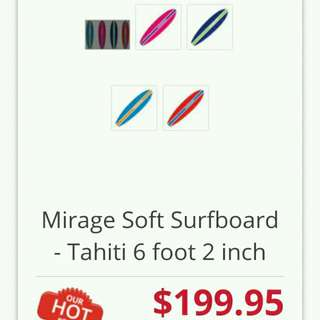 "6'2"" Mirage Surfboard Softboard"