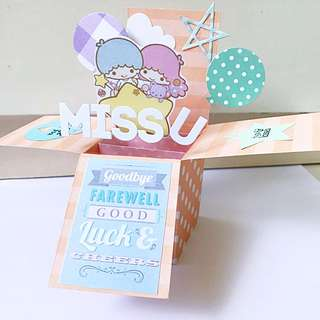 Farewell And Miss You Handmade Pop Up Card