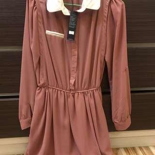《衣櫥出清》全新品-藕粉色雪紡連身洋裝#100元洋裝