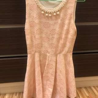 《衣櫥出清》粉橘色珍珠領洋裝