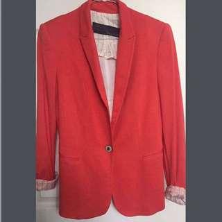 ZARA Basic Ladies Red Smart Casual Blazer Sz SMALL RRP $120