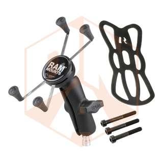 RAM Motorcycle Handlebar Clamp Mount with Double Socket Arm & Universal X-Grip® Large Phone Holder (RAM-B-367-UN10U) - BNIB