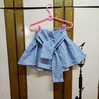 假襯衫藍條紋綁帶褲裙