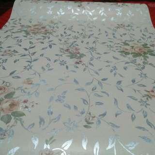 10 M Roll Wallpaper Flower Brown Silver