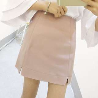 Double Slit Skirt in Blush Pink