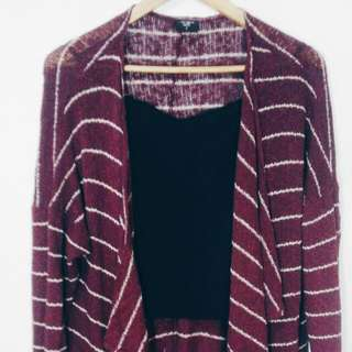 Oxygen Long Dark Red Cardigan