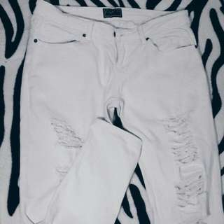 REPRICED: Redgirl White Ripped Pants