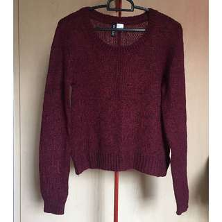 H&M maroon knitted long sleeve pullover