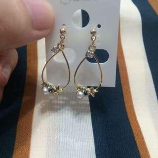 eva eva 星星珍珠 夾式耳環