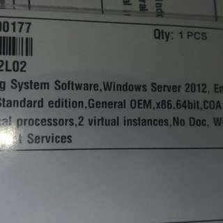 Brand New Sealed Windows Server 2012 Standard Edition, 2 Processors, 2 Instances with Media