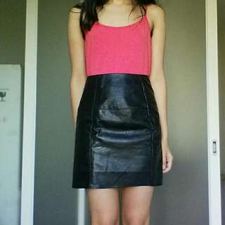 Petite Leather Skirt - Size 4