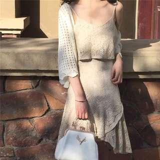 預購精緻全蕾絲兩件套吊帶+荷葉邊短裙