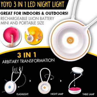 YOYO 3 IN 1 LED NIGHT LIGHT RECHARGEABLE TABLE LAMP