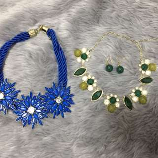 Blue And Green Necklace With Earrings