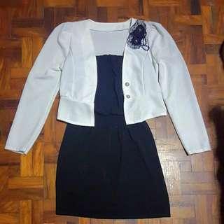 Black Tube Dress with White Blazer