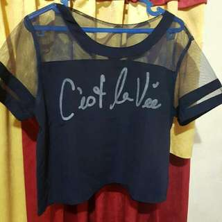 Baju Navy Crop