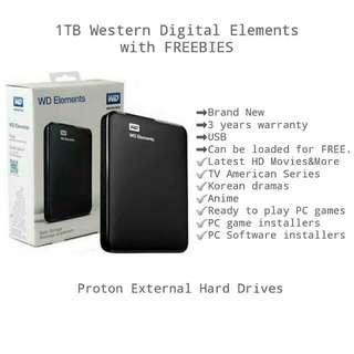 1TB Western DIgital Elements External Hard Drive With FREEBIES