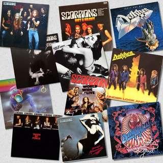 vg+ scorpions dokken. metal hair. vinyl records