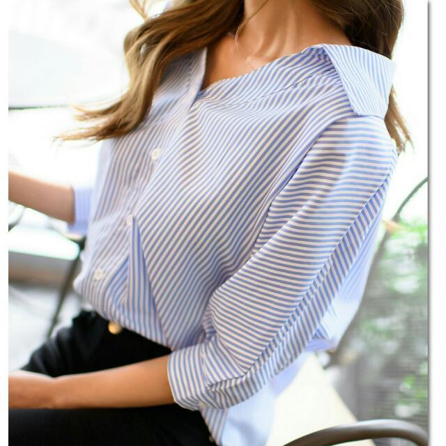2017春夏新款韓版顯瘦七分袖條紋V領襯衫