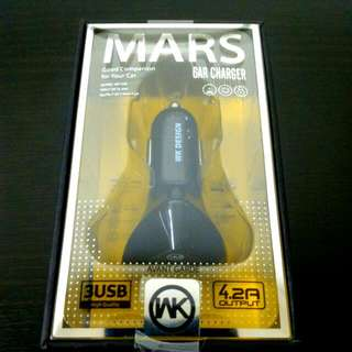 WK MARS CAR CHARGER 3USB PORTS OUTPUT 4.2A MODEL WP-C01