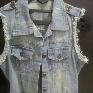 Ripped Denim Vest
