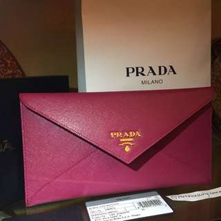 AUTHENTIC PRADA SAFFIANO IBISCO ENVELOPE WALLET / CLUTCH