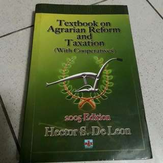 Textbook on Agrarian Reform and Taxation (with Cooperatives)