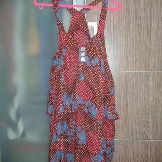 Flower Red Mini Dress