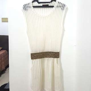 White Outer Dress With Belt