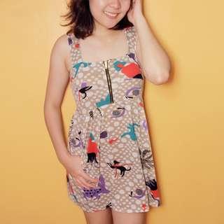 Jellybean Polka-dotted Printed Dress