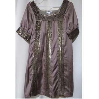 Authentic Walter designer bronze sequined dress (#78)