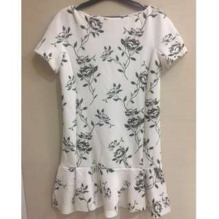 Zara Basic White Floral Dress size S