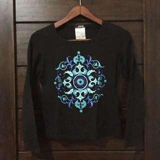 Black Mosaic Pattern Long Sleeve Top - Baju Casual Lengan Panjang