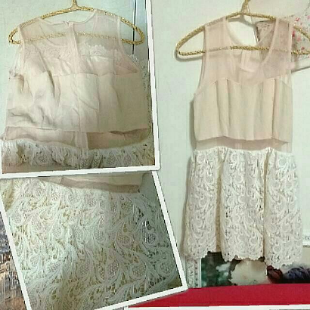 (2款)蕾絲洋裝短褲裙,連身洋裝,蕾絲背心,簍空透膚洋裝,條紋長版上衣