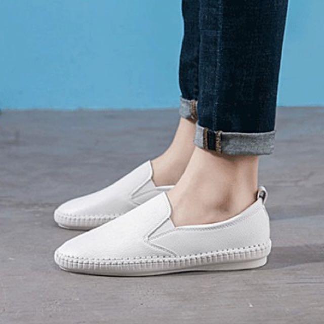 皮質懶人鞋小白鞋38號