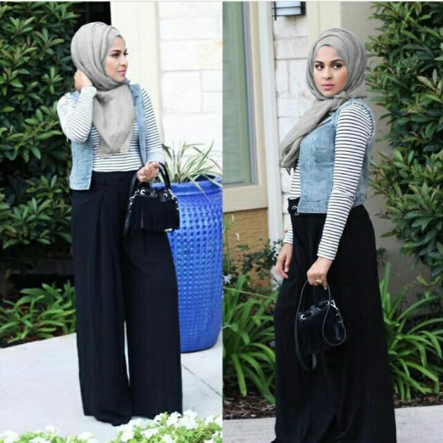 4in1 Hijab Inner Salur,celana Kulot,pasmina Sepandek,vest Denim Fit L