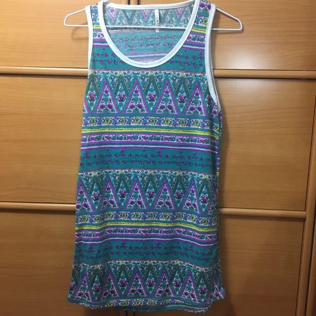 可當洋裝的無袖長版 #100元上衣