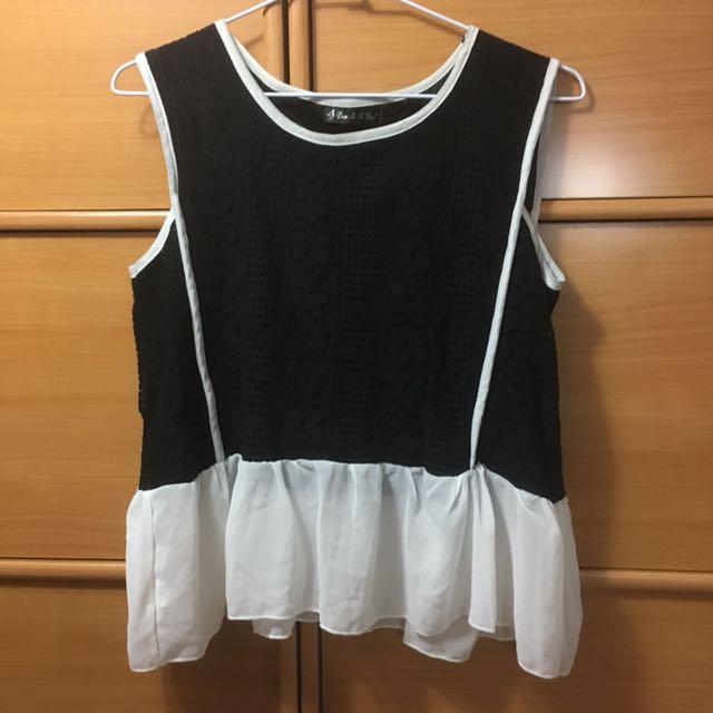 無袖黑白布料拼接上衣 #100元上衣