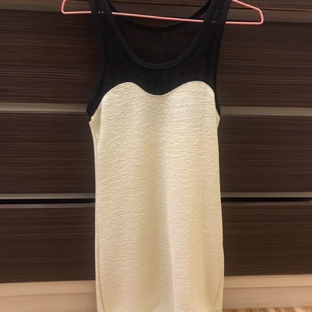 《衣櫥出清》黑白拼色洋裝#100元洋裝