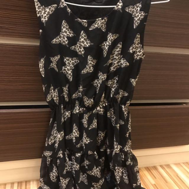《衣櫥出清》蝴蝶滿版黑色雪紡連身洋裝#100元洋裝