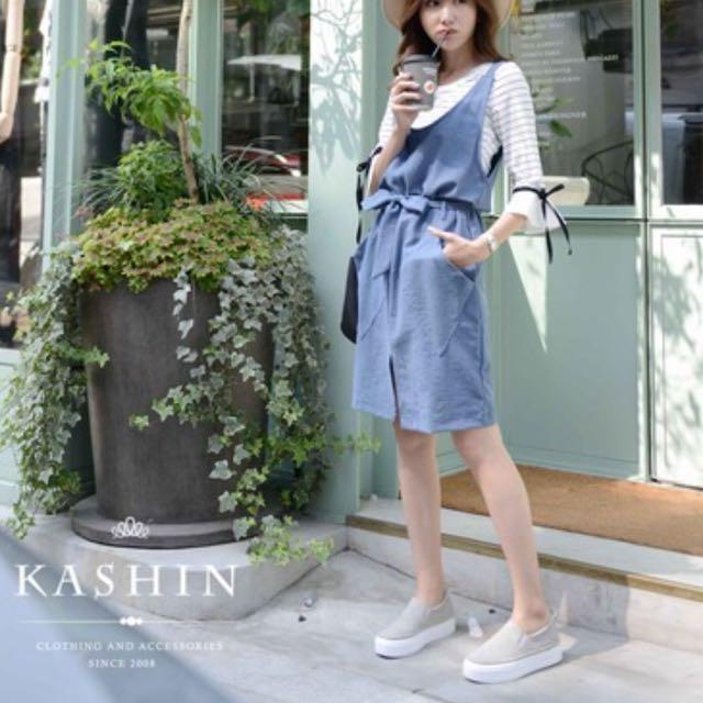 KASHIN兩件式條紋綁結背心裙✨
