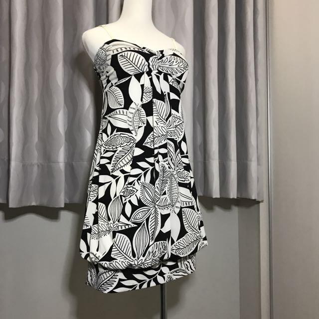 黑白葉子圖紋洋裝#一百元洋裝