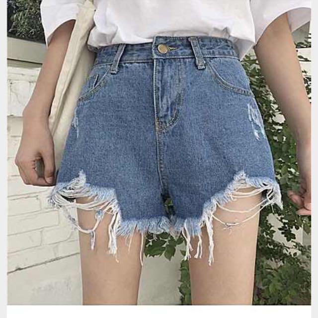 韓版復古牛仔高腰短褲