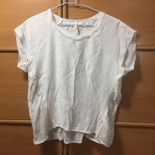 純白 棉雪紡拼接短袖上衣