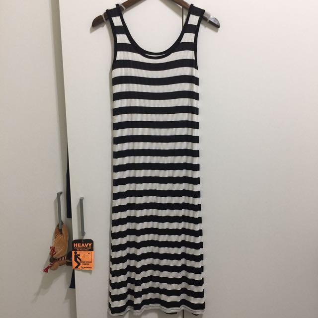 無袖連身裙 黑白條紋