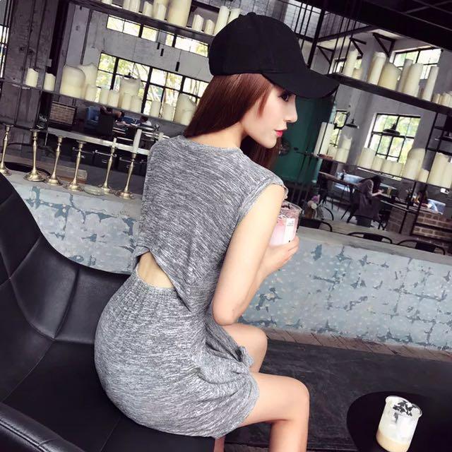 歐美麻灰色圓領無袖背後鏤空連身裙 A字裙休閒運動風