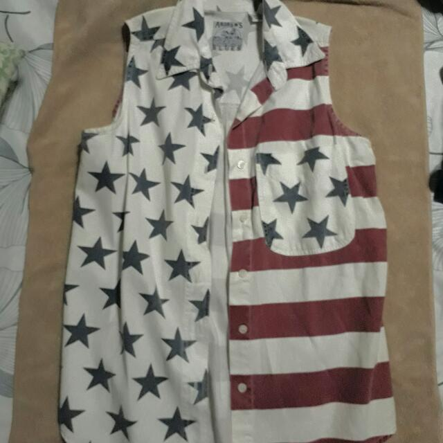 American Flag Buttoned Shirt