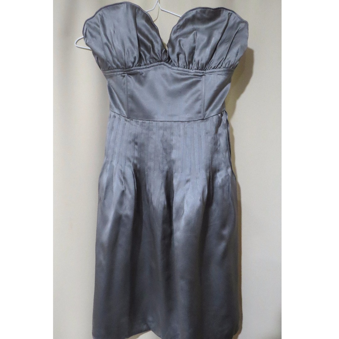 Authentic After All designer silver sweetheart tube dress (#72)