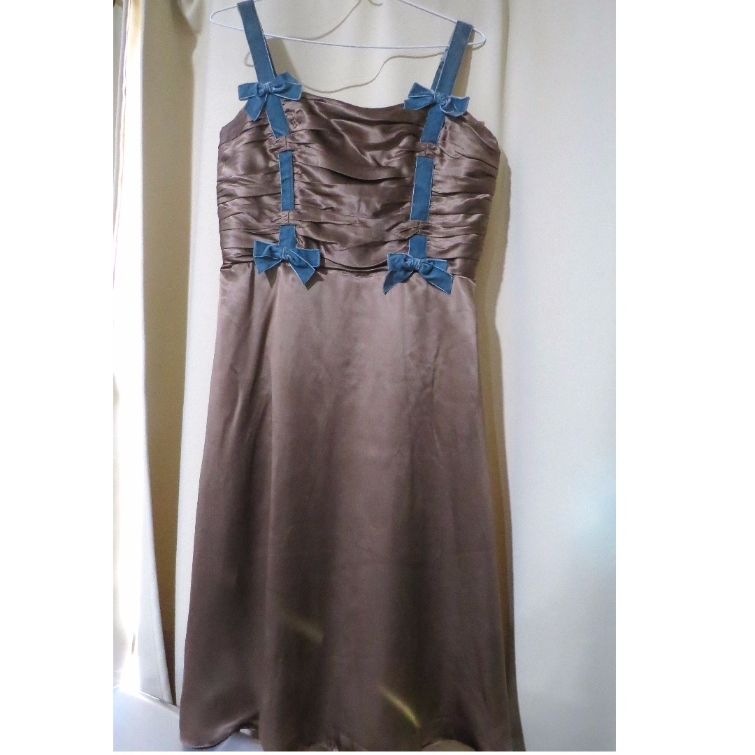 Authentic Betsey Johnson New York designer bronze metallic strappy ruffled sleeveless dress (#73)